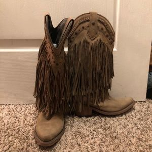 Fringed leather cowboy boots